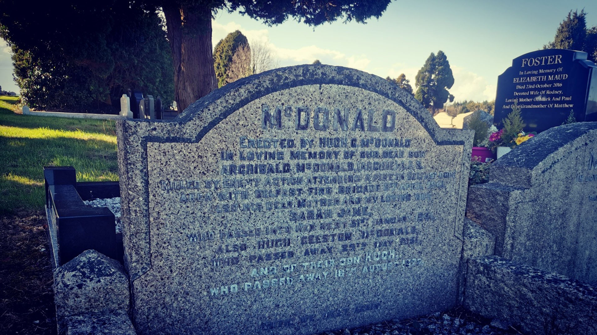 The grave of Archibald 'Archie' McDonald in Dundonald Cemetery, Dundonald, Co. Down